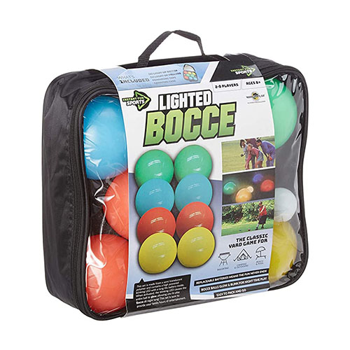 Outdoor glow-in-the-dark bocce bowl set